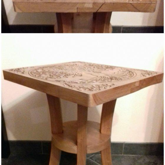 Table bois et gravure